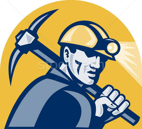 Stock photo: Coal Miner With Pick Axe Retro Woodcut
