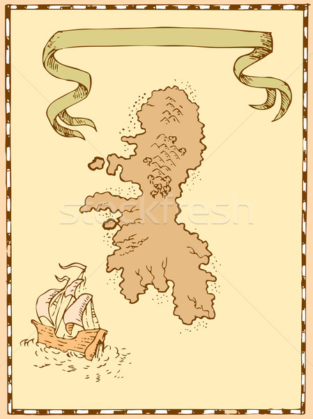 Map Treasure Island Tall Ship Stock photo © patrimonio