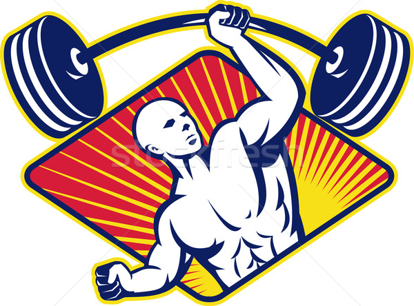 Weight lifter Body Builder Lifting Barbell Stock photo © patrimonio
