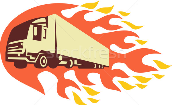Foto stock: Recipiente · caminhão · chamas · retro · ilustração · caminhão