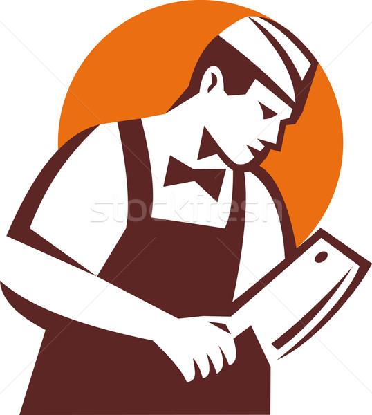 Butcher holding meat cleaver Stock photo © patrimonio