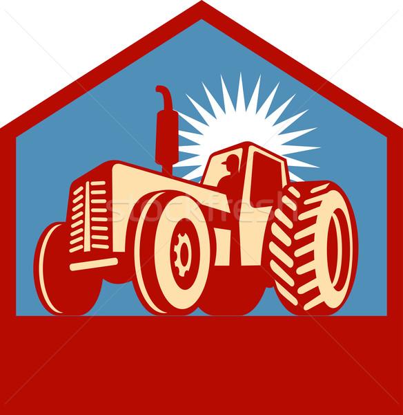 retro styled tractor silhouette Stock photo © patrimonio