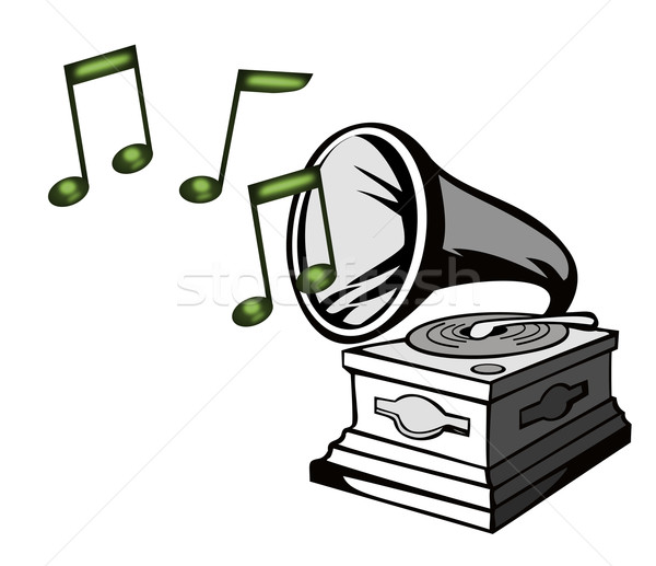 Phonograph with Treble Clef Stock photo © patrimonio