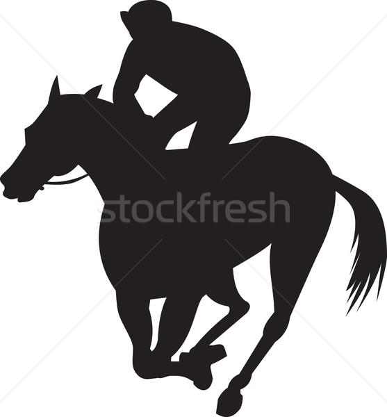 Lóverseny sziluett illusztráció ló zsoké versenyzés Stock fotó © patrimonio