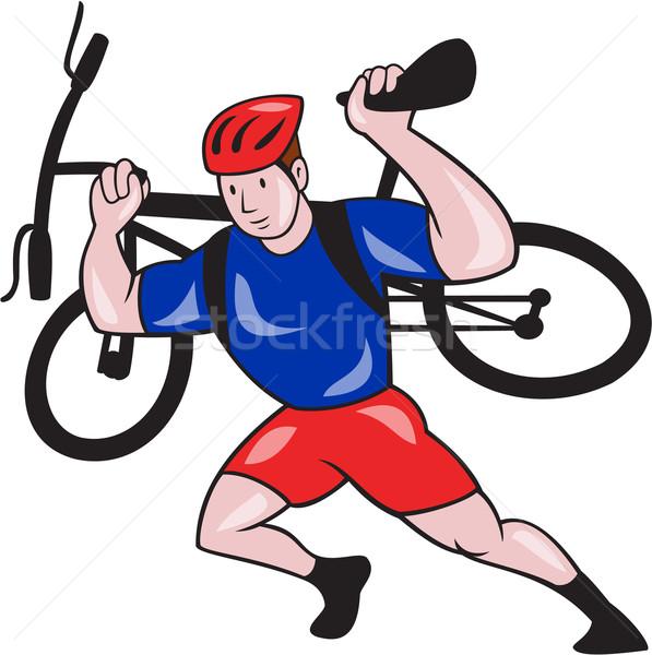 велосипедист горных велосипедов Плечи Cartoon иллюстрация Сток-фото © patrimonio