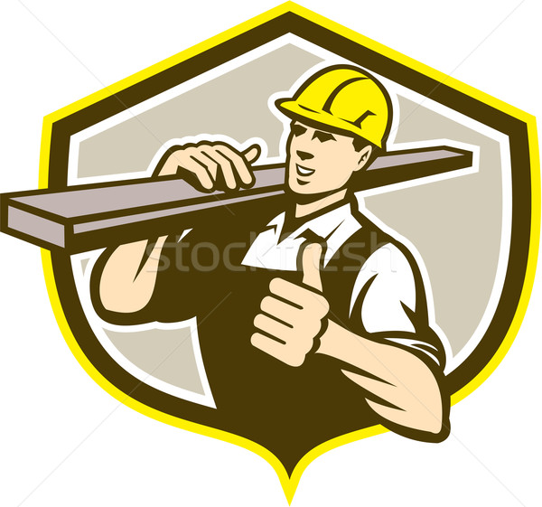 Carpenter Carry Lumber Thumbs Up Shield  Stock photo © patrimonio