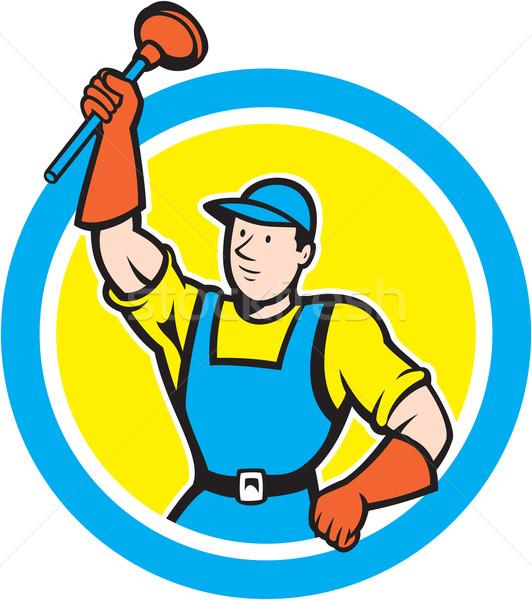 Super Plumber With Plunger Circle Cartoon Stock photo © patrimonio