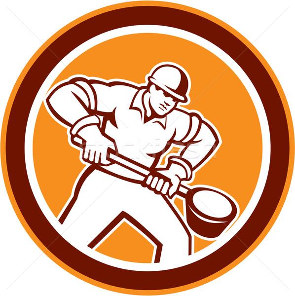 Foundry Worker Holding Ladle Circle Retro Stock photo © patrimonio