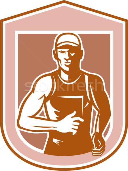 Marathon runner lopen schild retro illustratie Stockfoto © patrimonio