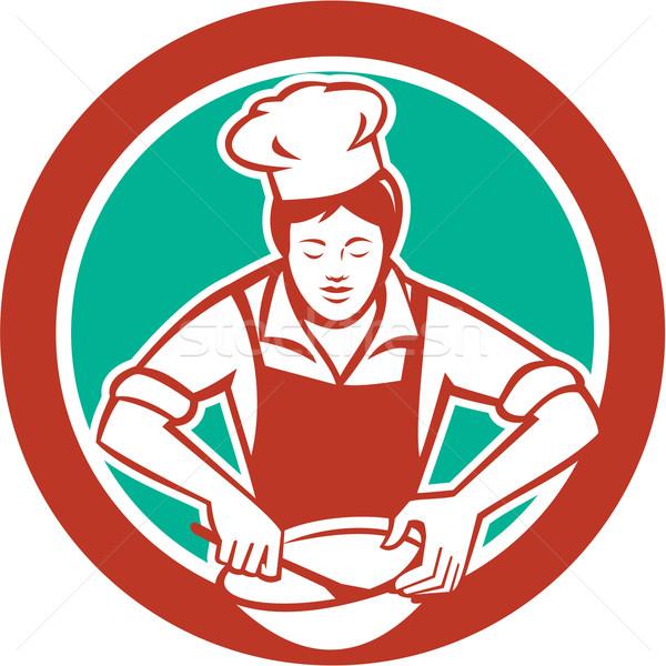 Female Chef Mixing Bowl Circle Retro Stock photo © patrimonio