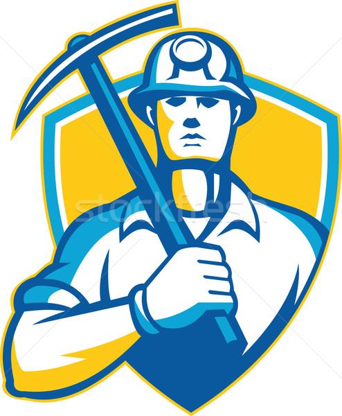 Coal Miner With Pick Ax Shield Retro Stock photo © patrimonio