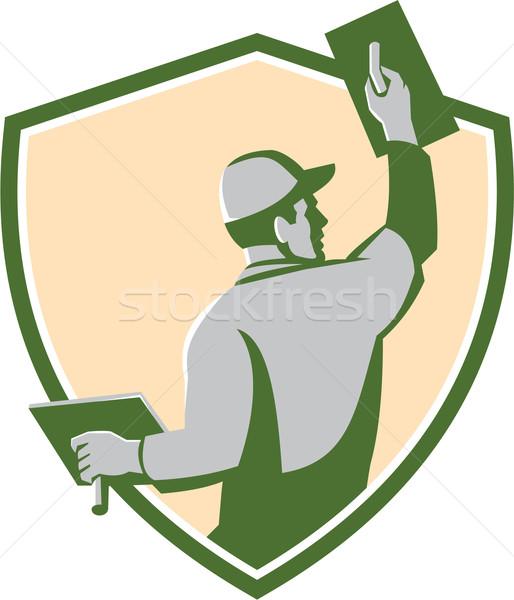 Maçonnerie bouclier rétro illustration travailleur de la construction Photo stock © patrimonio