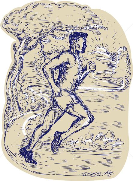マラソン ランナー を実行して 図面 実例 サイド ストックフォト © patrimonio