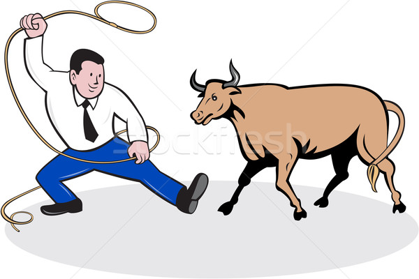 Businessman Holding Lasso Bull Cartoon Stock photo © patrimonio