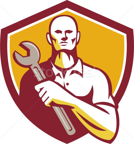 Mechanic Holding Wrench Shield Retro Stock photo © patrimonio