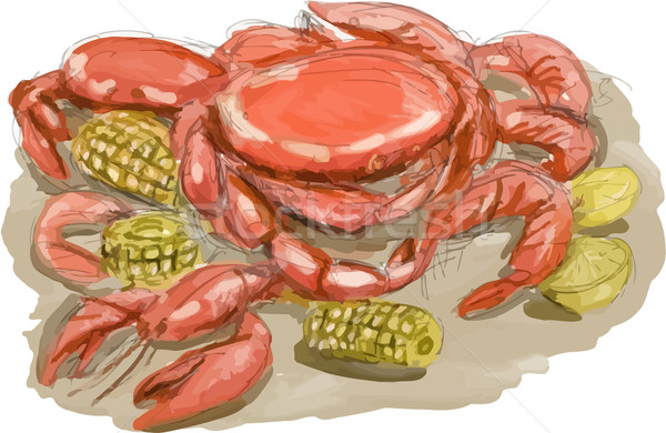 Cajun Seafood Watercolor Stock photo © patrimonio