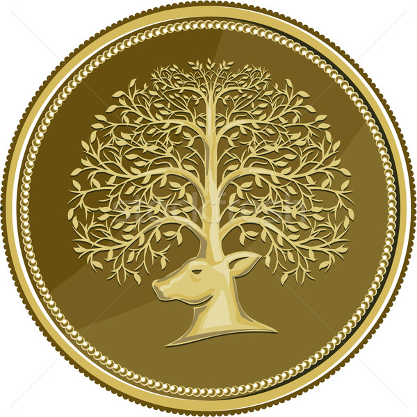 Deer Head Tree Antler Gold Coin Retro Stock photo © patrimonio