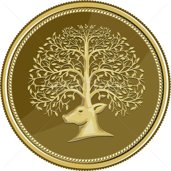鹿 頭 ツリー 枝角 金貨 レトロな ストックフォト © patrimonio