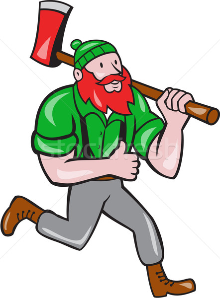 Paul Bunyan Lumberjack Axe Running Cartoon Stock photo © patrimonio