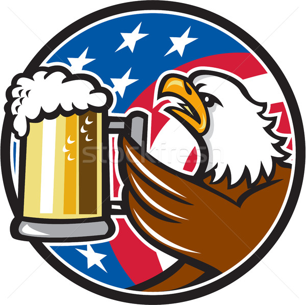 Bald Eagle Hoisting Beer Stein USA Flag Circle Retro Stock photo © patrimonio
