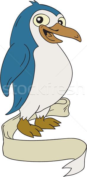 Pinguin lint scroll cartoon illustratie aquatisch Stockfoto © patrimonio