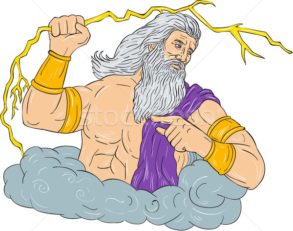 Zeus Wielding Thunderbolt Lightning Drawing Stock photo © patrimonio
