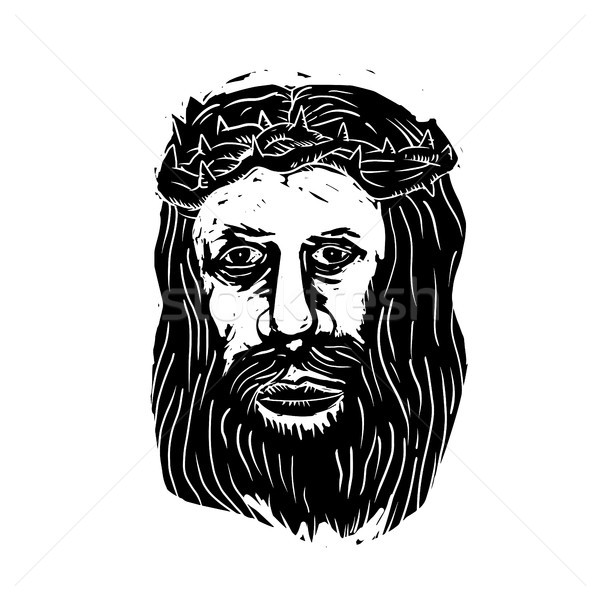 Christ Savior Head with Thorns Woodcut  Stock photo © patrimonio