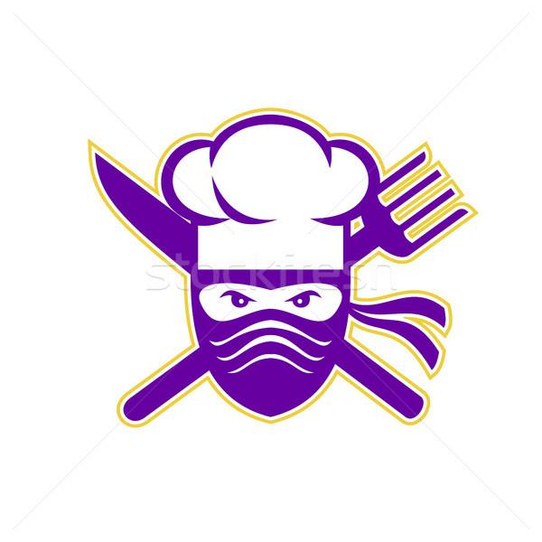 Ninja chef faca garfo ícone estilo Foto stock © patrimonio