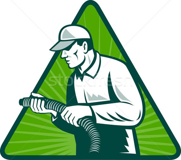 Kereskedő otthon szigetelés technikus illusztráció tart Stock fotó © patrimonio