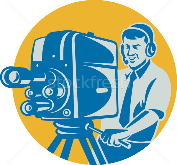 Film  Crew TV Cameraman With Movie Camera Retro Stock photo © patrimonio
