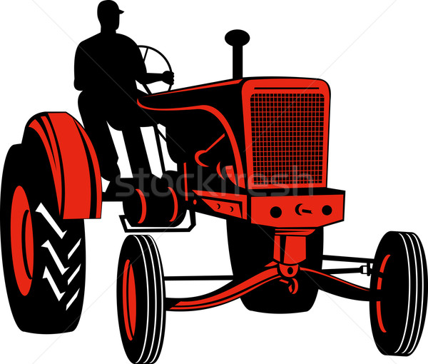 Vintage tracteur isolé illustration style rétro Photo stock © patrimonio