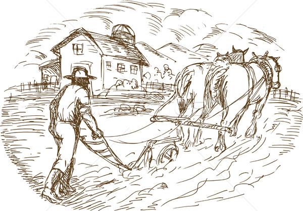 Farmer and horse plowing the field with barn farmhouse  Stock photo © patrimonio