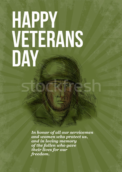 World War two Veterans Day Soldier Card Sketch Stock photo © patrimonio