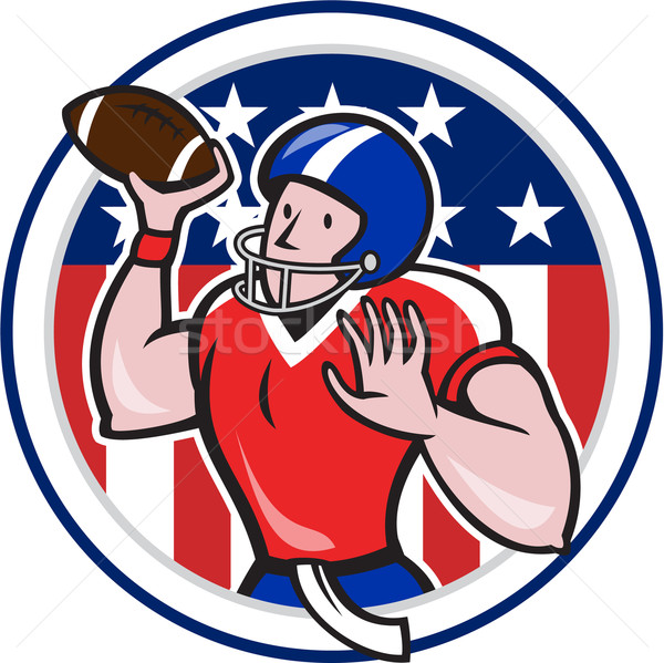 Football Quarterback Throwing Circle Cartoon Stock photo © patrimonio
