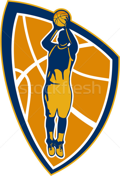 Basketball Player Jump Shot Ball Shield Retro Stock photo © patrimonio