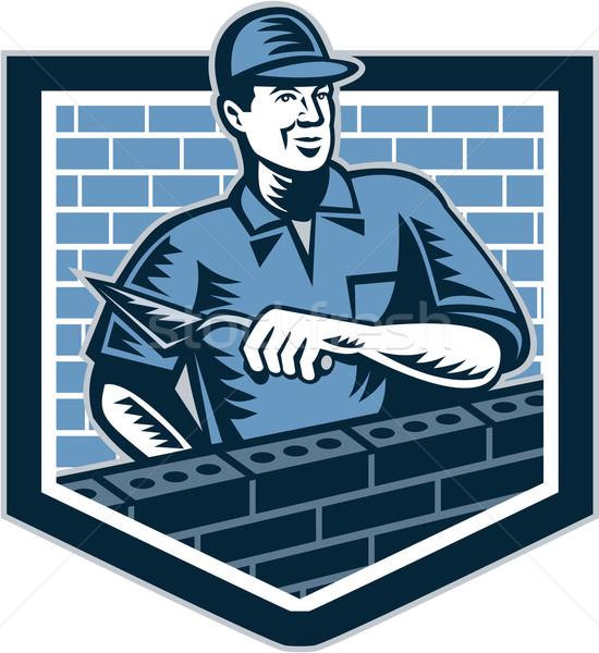 Brick Layer Mason Masonry Worker Retro Stock photo © patrimonio