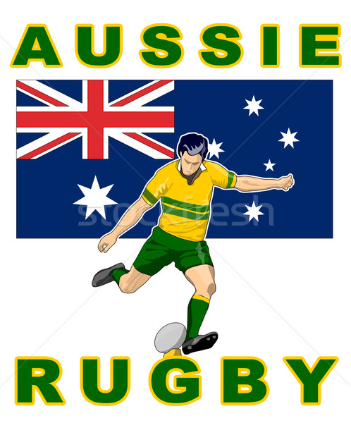 Rugby player kicking australia flag Stock photo © patrimonio