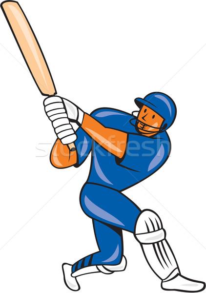India Cricket Player Batsman Batting Cartoon Stock photo © patrimonio