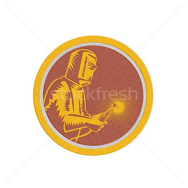 Metallic Welder Holding Welding Torch Shield Retro Stock photo © patrimonio