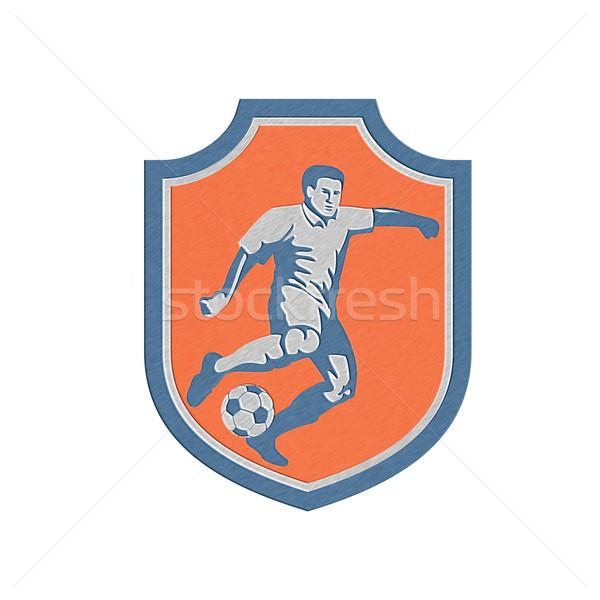 Metallic Soccer Player Kicking Ball Shield Retro Stock photo © patrimonio