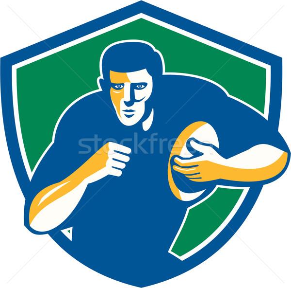 Rugby jugador ejecutando escudo retro ilustración Foto stock © patrimonio