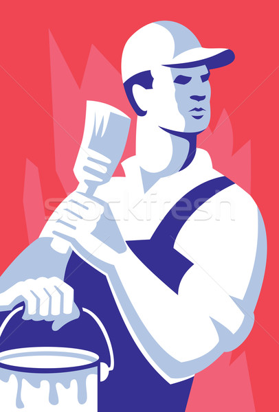 Painter Worker Paint Brush Retro Stock photo © patrimonio