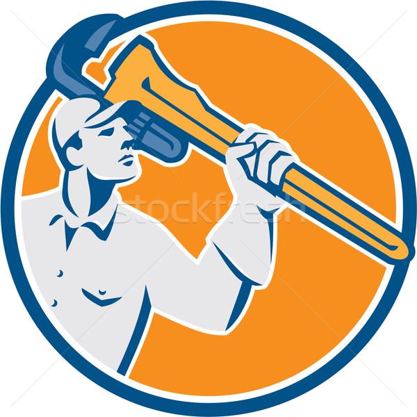 Plumber Wielding Monkey Wrench Circle Retro Stock photo © patrimonio