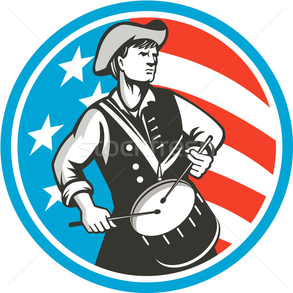 American Patriot Drummer USA Flag Circle Retro Stock photo © patrimonio
