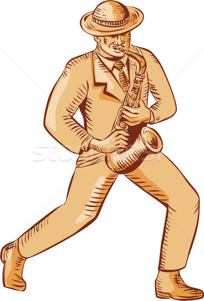 Jazz Player Playing Saxophone Etching Stock photo © patrimonio
