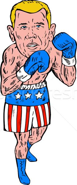 ストックフォト: ボクサー · ポーズ · 米国 · フラグ · 彫刻 · ハンドメイド