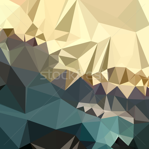 Marrom azul abstrato baixo polígono estilo Foto stock © patrimonio
