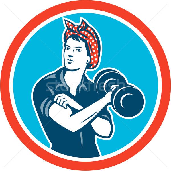 Fejpánt nő emel súlyzó kör retro Stock fotó © patrimonio