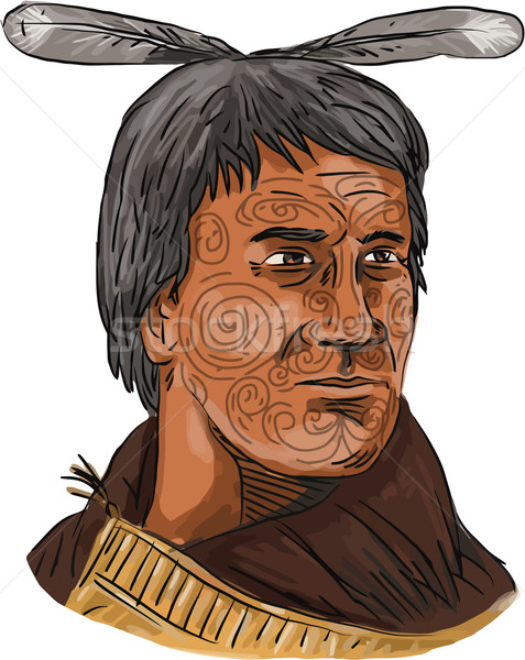 Maori Chief Warrior Bust Watercolor Stock photo © patrimonio