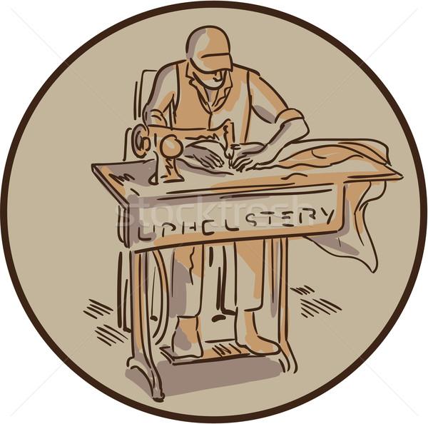 Tailor Upholsterer Sewing Machine Drawing Stock photo © patrimonio